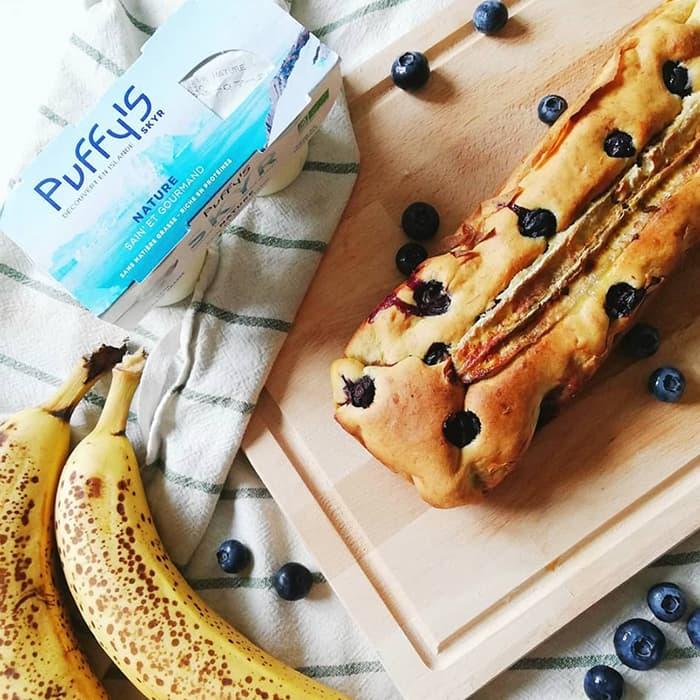 banana bread avec bananes et skyr puffy's