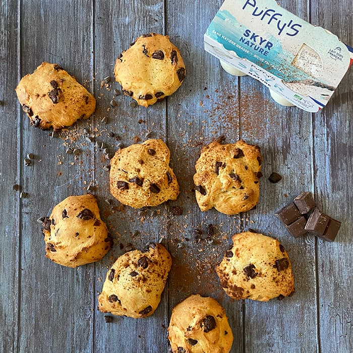 cookies aux pépites de chocolat et SKYR Puffy's nature