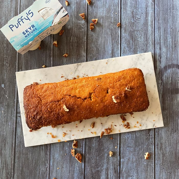 carrot cake sans glacage avec skyr Puffy's